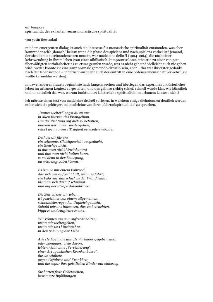ex_tempore spiritualität der exilanten versus monastische spiritualität  von yotin tiewtrakul  mit dem emergenten dialog i...