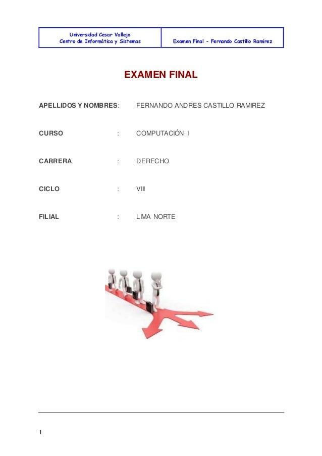 Universidad Cesar Vallejo Centro de Informática y Sistemas Examen Final - Fernando Castillo Ramirez 1 EXAMEN FINAL APELLID...