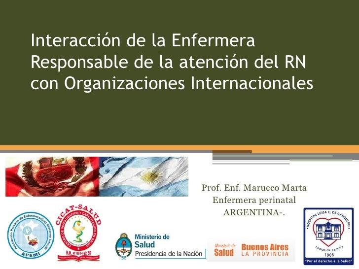 Interacción de la EnfermeraResponsable de la atención del RNcon Organizaciones Internacionales                    Prof. En...