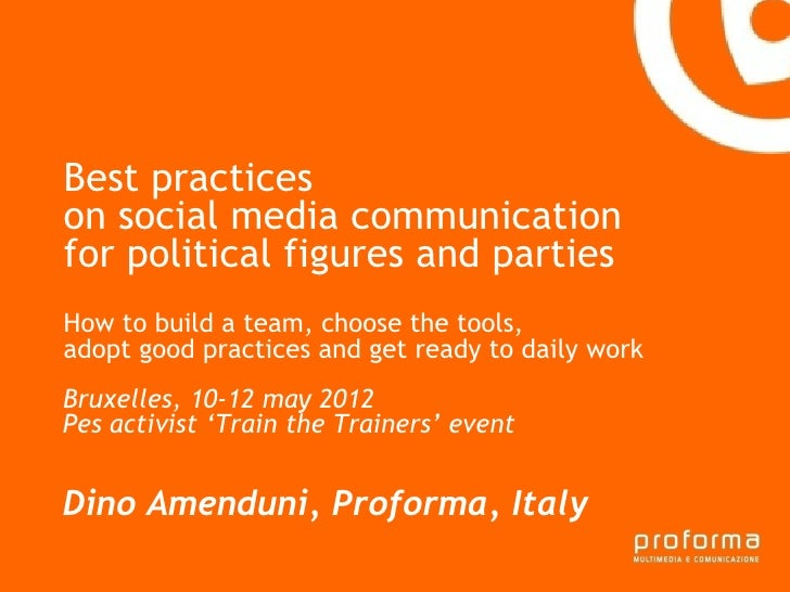 Best practices  on social media communication for political figures and parties