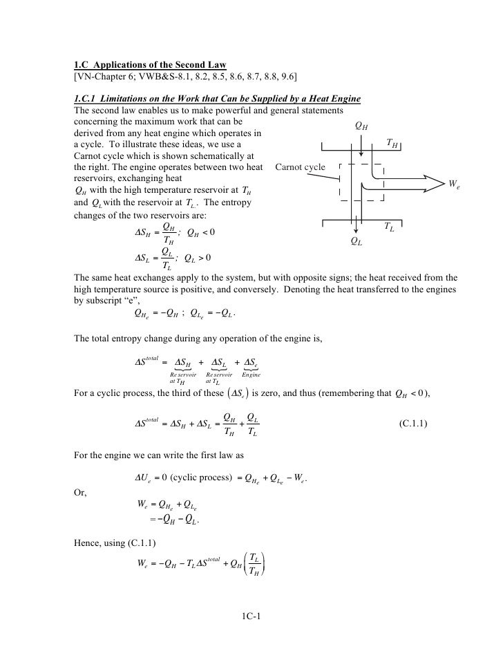 1.C Applications of the Second Law[VN-Chapter 6; VWB&S-8.1, 8.2, 8.5, 8.6, 8.7, 8.8, 9.6]1.C.1 Limitations on the Work tha...