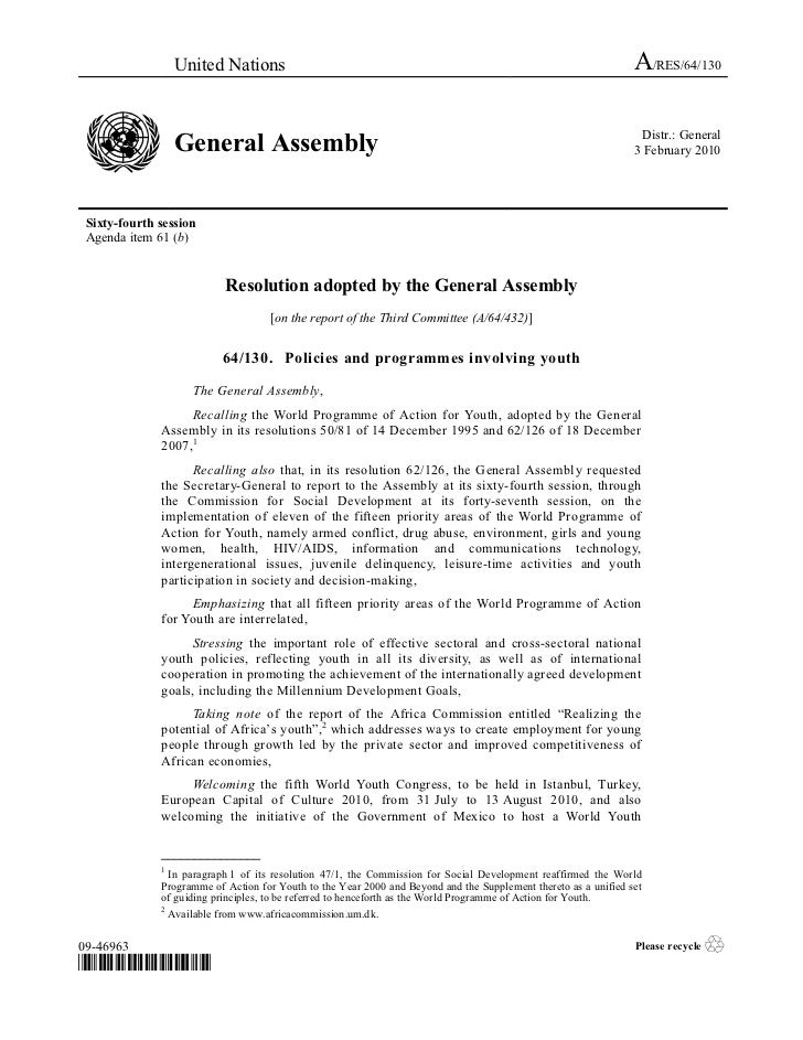 2009 - General Assembly Resolution on Policies and programmes involving youth, A/RES/64/130