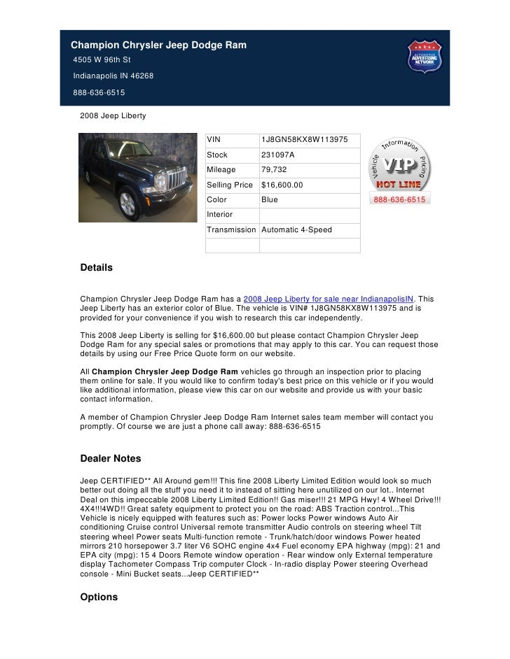 Used 2008 Jeep Liberty For Sale In Indianapolis IN