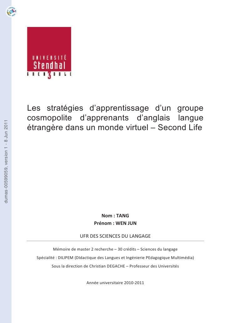 Les stratégies d'apprentissage d'un groupe                                         cosmopolite d'apprenants d'anglais lang...