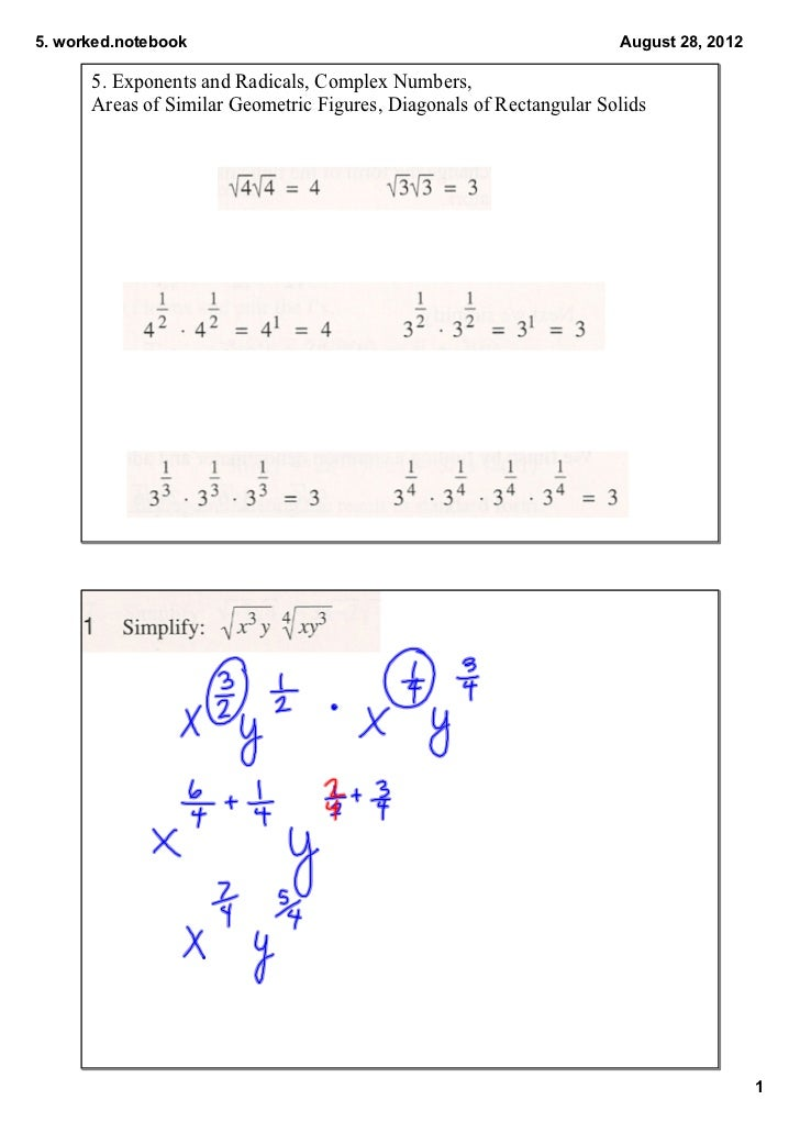5.worked.notebook                                                   August28,2012      5.ExponentsandRadicals,Compl...