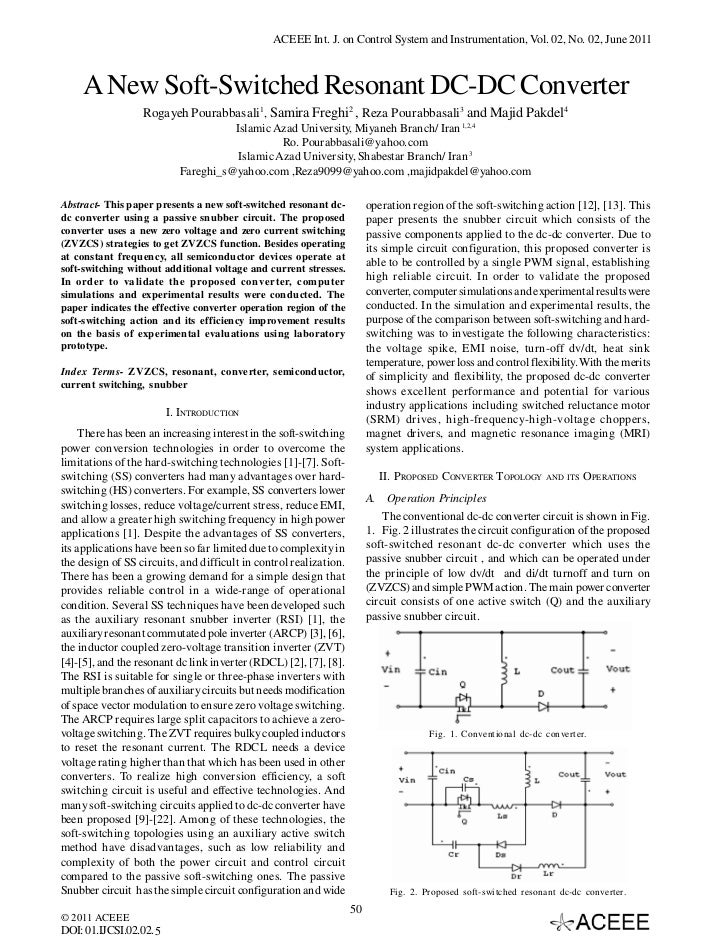 ACEEE Int. J. on Control System and Instrumentation, Vol. 02, No. 02, June 2011    A New Soft-Switched Resonant DC-DC Conv...
