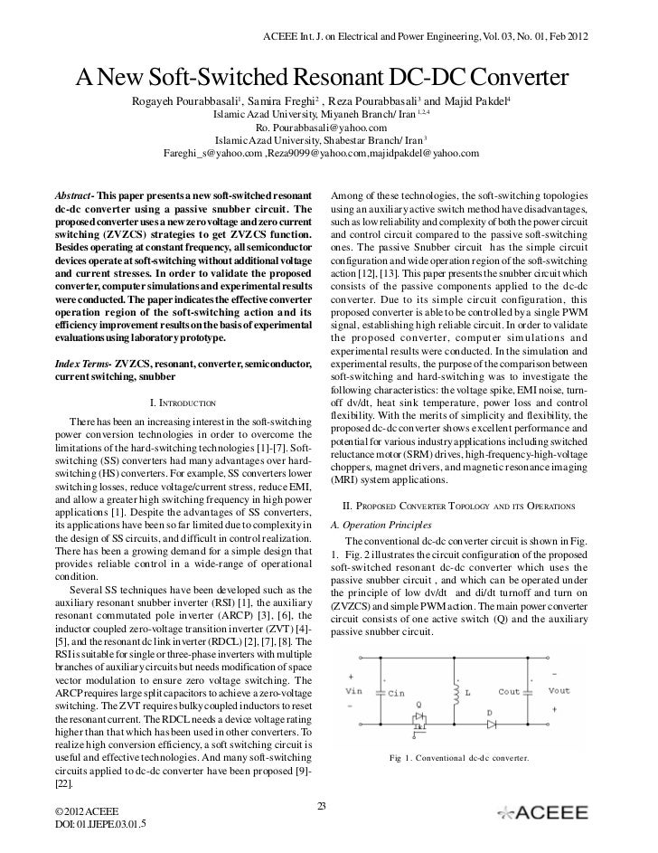 ACEEE Int. J. on Electrical and Power Engineering, Vol. 03, No. 01, Feb 2012     A New Soft-Switched Resonant DC-DC Conver...