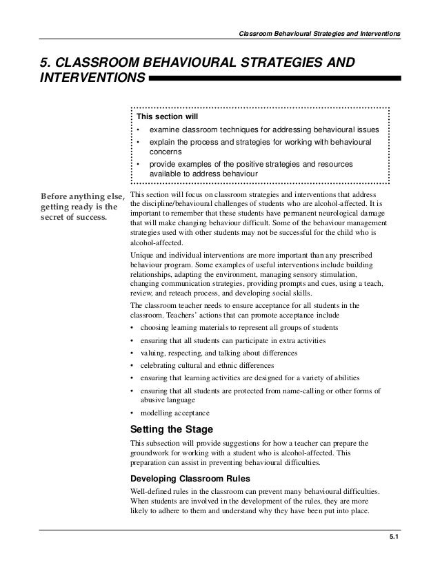 5.1 Classroom Behavioural Strategies and Interventions 5. CLASSROOM BEHAVIOURAL STRATEGIES AND INTERVENTIONS This section ...