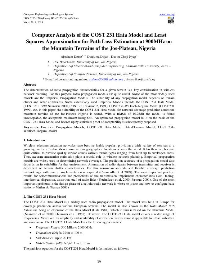 5.computer analysis of the cost 231 hata model for path loss estimation at 900 m hz on the mountain terrains