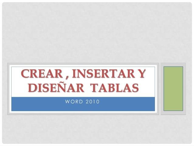 CREAR , INSERTAR Y DISEÑAR TABLAS WORD 2010