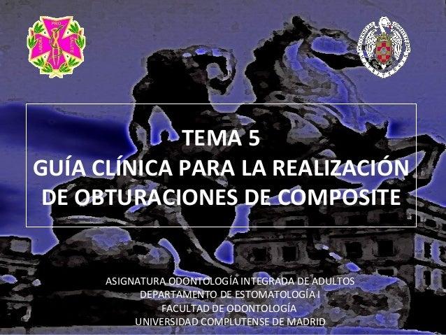 TEMA 5 GUÍA CLÍNICA PARA LA REALIZACIÓN DE OBTURACIONES DE COMPOSITE  ASIGNATURA ODONTOLOGÍA INTEGRADA DE ADULTOS DEPARTAM...