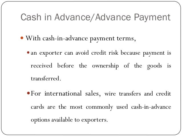 risk in international payment