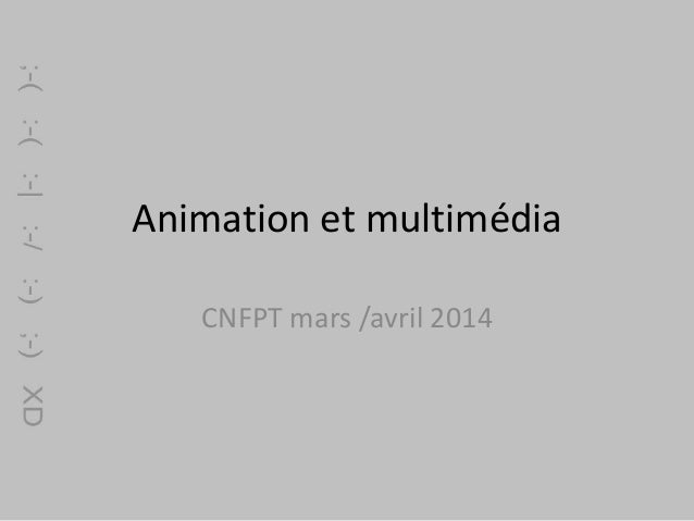Animation et multimédia CNFPT mars /avril 2014