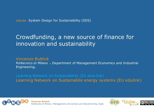 5.9 crowd funding, a new source of finance for innovation and sustainability