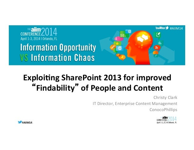 "Exploiting SharePoint 2013 for improved ""Findability"" of People and Content"