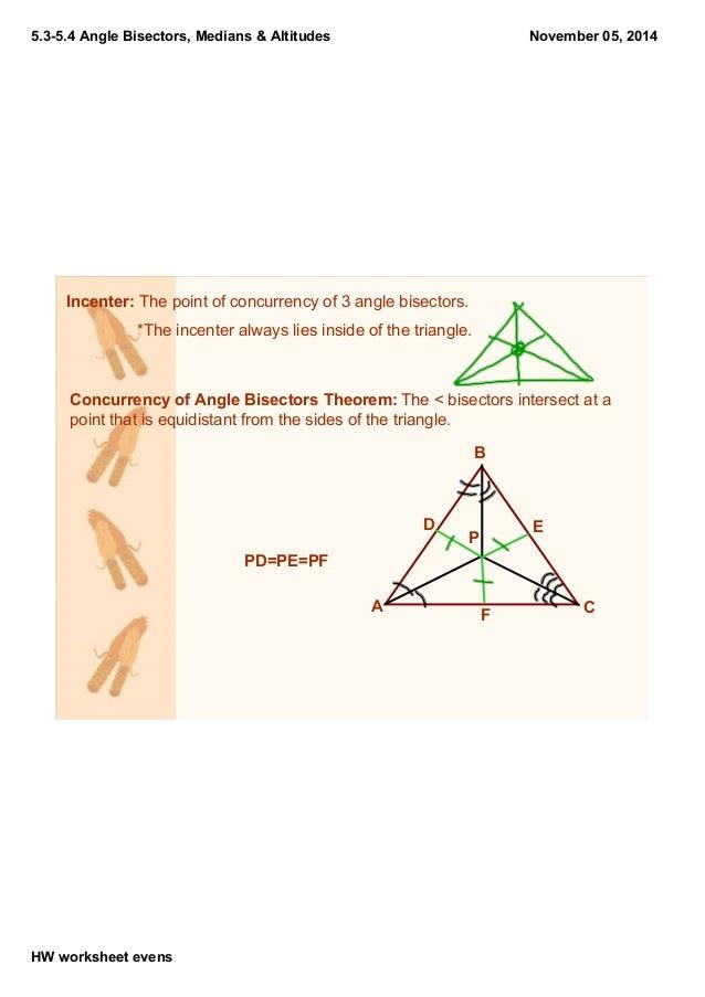 Bisectors of Angles Worksheets 5 35 4 Angle Bisectors