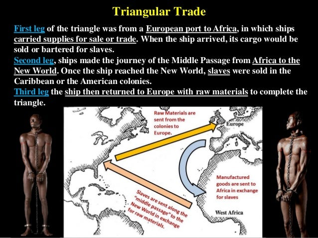 Triangular Trade First leg of the triangle was from a European port to Africa, in which ships carried supplies for sale or...