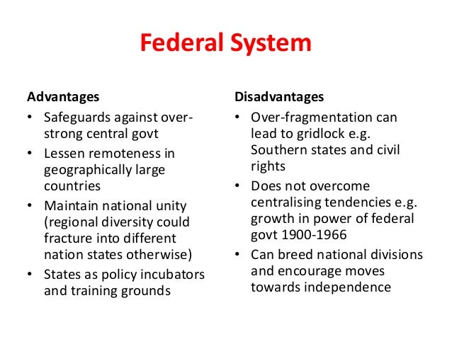 pros and cons of federalism essay In this article i look at the pros and cons of democracy  how does federalism even some of the pros can lead to cons when candidates resort to immediate.