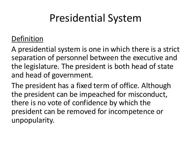 Presidential system - Define executive office of the president ...