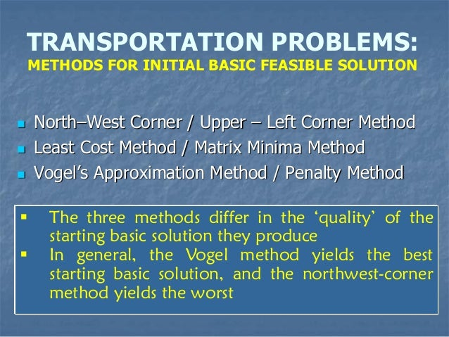vogel s approximation method and northwest corner Ability to solve transportation model numericals with vogel's approximation   north-west corner method (nwcm) least cost method or minima matrix  method (lcm) vogel's approximation method (vam)  who is the target  audience.