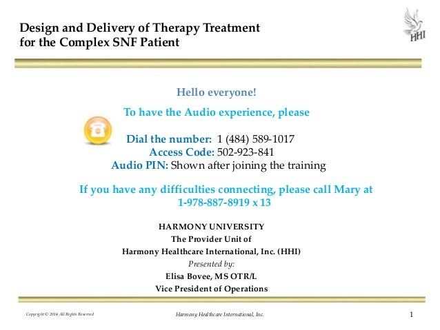Design and Delivery of Therapy Treatment for the Complex SNF Patient