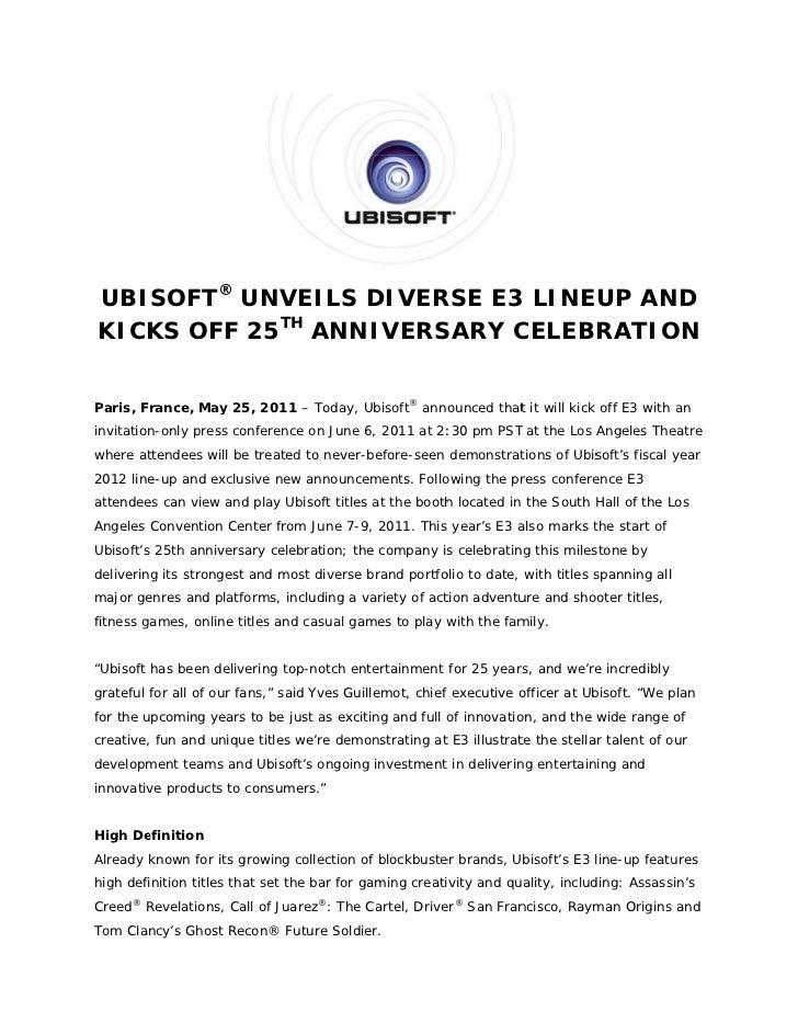 UBISOFT® UNVEILS DIVER                 D   RSE E3 LINEUP AN                          3         NDKICK OFF 25TH ANNI   KS  ...