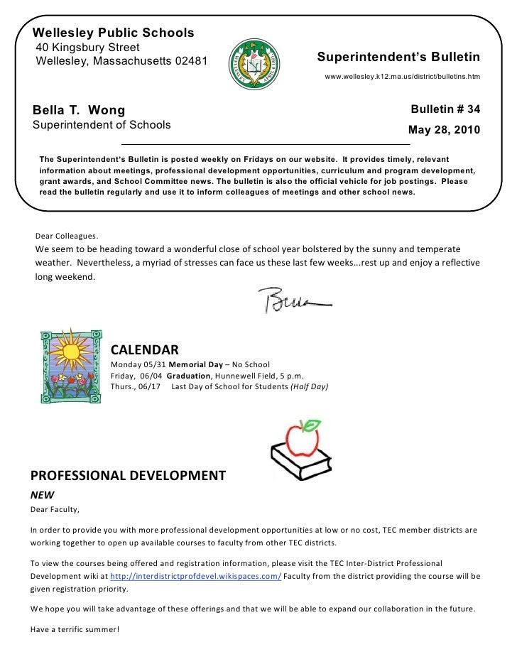 Superintendent's Bulletin 5-28-10