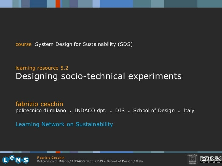 5.2  designing socio technical experiments ceschin