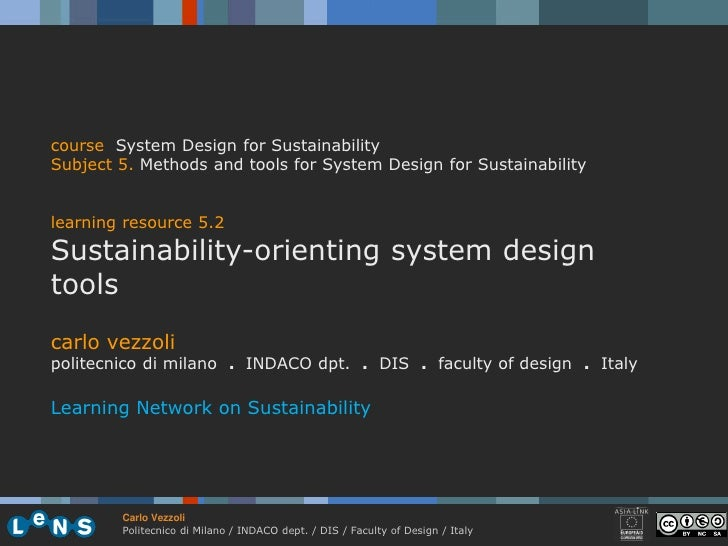 course System Design for Sustainability Subject 5. Methods and tools for System Design for Sustainability   learning resou...