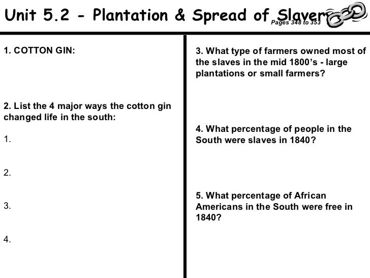 1. COTTON GIN: 2. List the 4 major ways the cotton gin changed life in the south: 1. 2. 3. 4. 3. What type of farmers owne...
