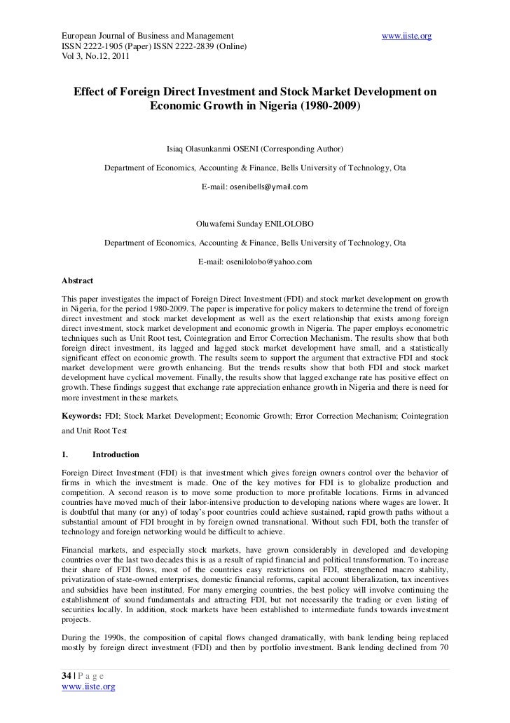 foreign direct investment in nigeria essay Reference: agarwal, jp (1980) determinants of foreign direct investment: a survey, weltwirtschaftliches archiv, 116, pp 739-773 akinlo, ae 2.