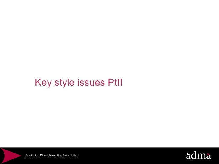 Key style issues PtII
