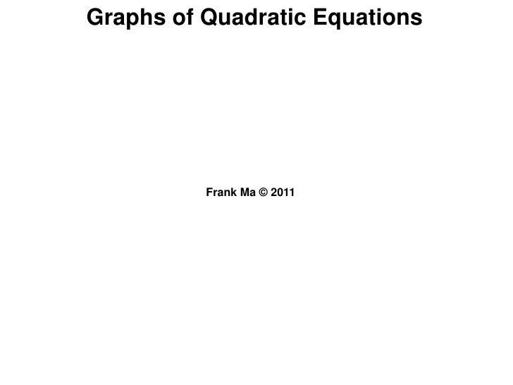 Graphs of Quadratic Equations<br />Frank Ma © 2011 <br />