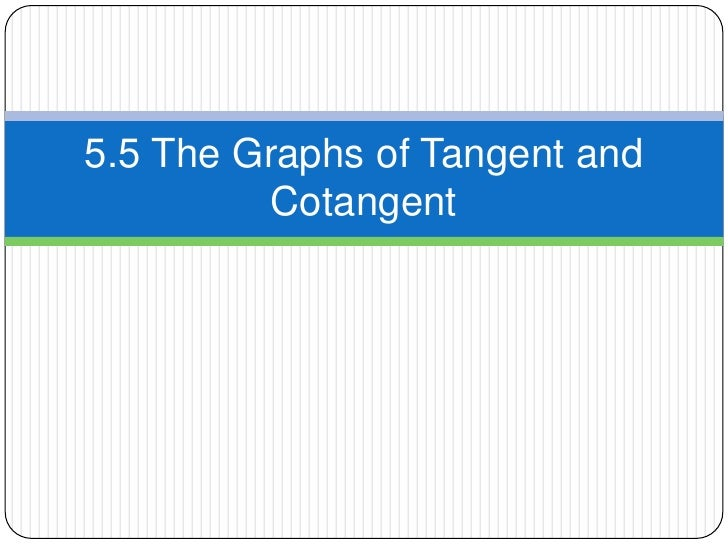 5.5.3 graphs of tangent and cotangent