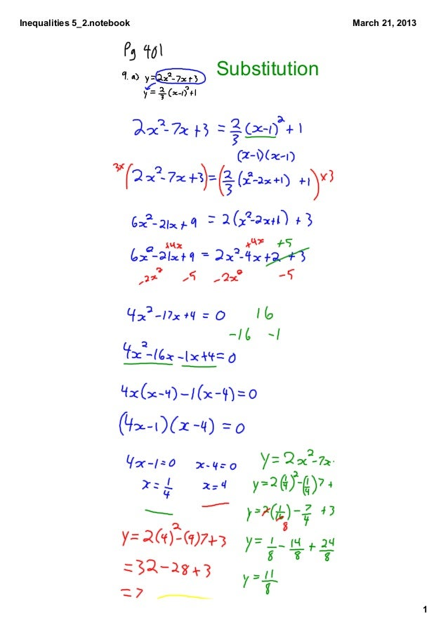 Inequalities 5_2.notebook                  March 21, 2013                            Substitution                         ...
