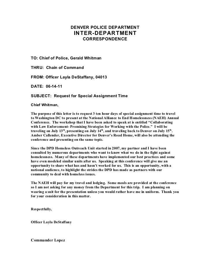 DENVER POLICE DEPARTMENT                           INTER-DEPARTMENT                                CORRESPONDENCETO: Chief...
