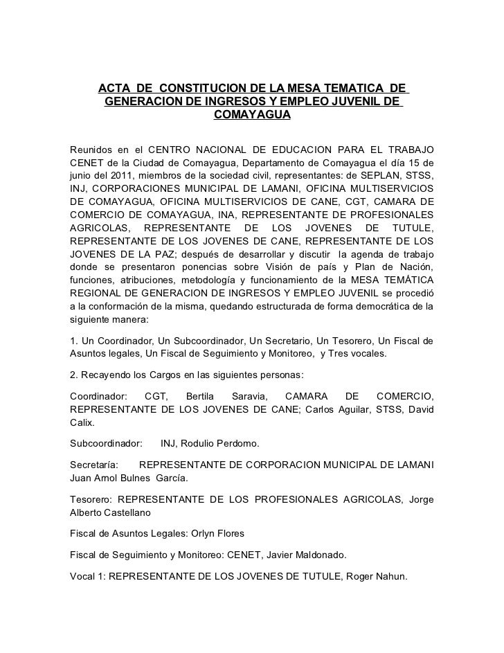 ACTA DE CONSTITUCION DE LA MESA TEMATICA DE       GENERACION DE INGRESOS Y EMPLEO JUVENIL DE                       COMAYAG...