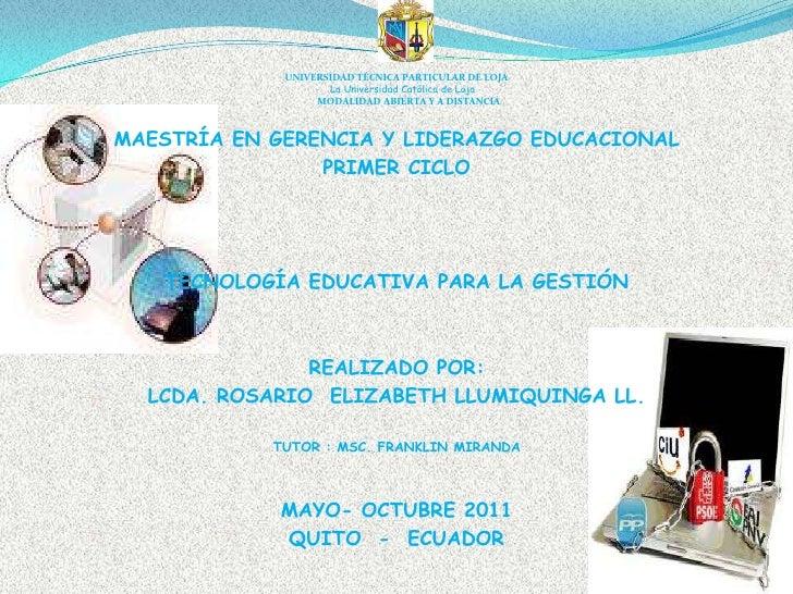 UNIVERSIDAD TÉCNICA PARTICULAR DE LOJALa Universidad Católica de LojaMODALIDAD ABIERTA Y A DISTANCIA<br />MAESTRÍA EN GERE...