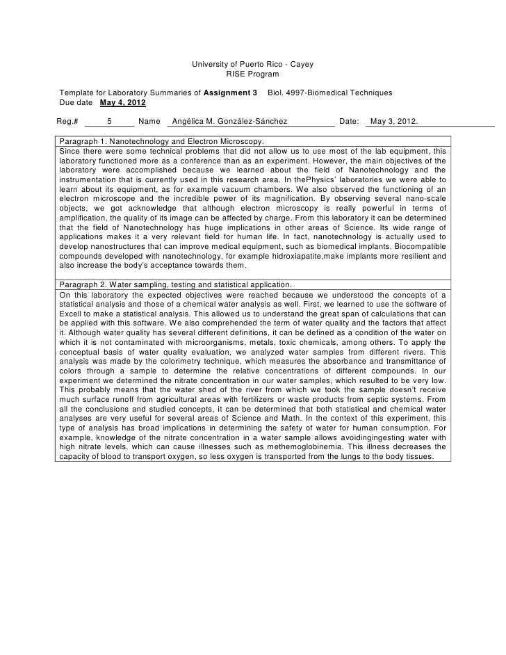 University of Puerto Rico - Cayey                                              RISE ProgramTemplate for Laboratory Summari...