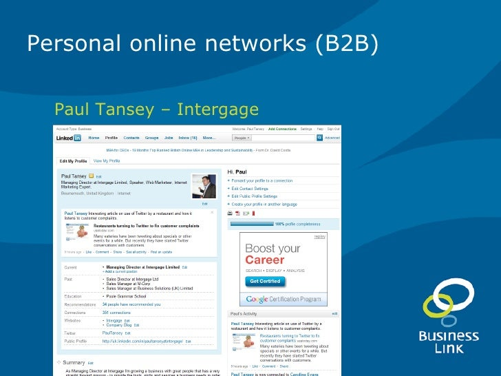 5  B2B social networking with linkedin -maximise your web marketing 03.02.11