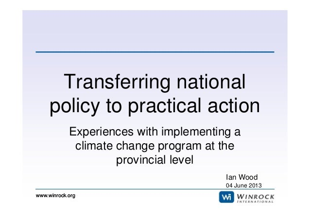 5. Transferring national policy to practical action