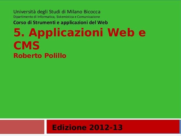 5. Applicazioni Web e CMS