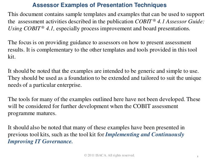 Assessor Examples of Presentation TechniquesThis document contains sample templates and examples that can be used to suppo...