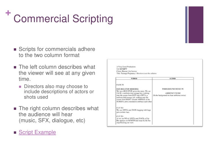 Pin example tv commercial script on pinterest for Tv commercial script template