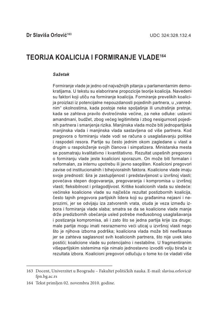 Dr Slaviša Orlović163                                              UDC 324:328.132.4TEORIJA KOALICIJA I FORMIRANJE VLADE1...
