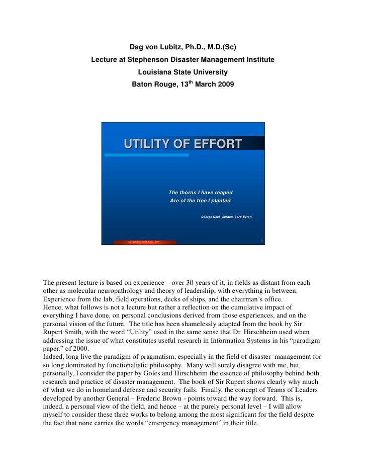 Dag von Lubitz, Ph.D., M.D.(Sc)                 Lecture at Stephenson Disaster Management Institute                       ...
