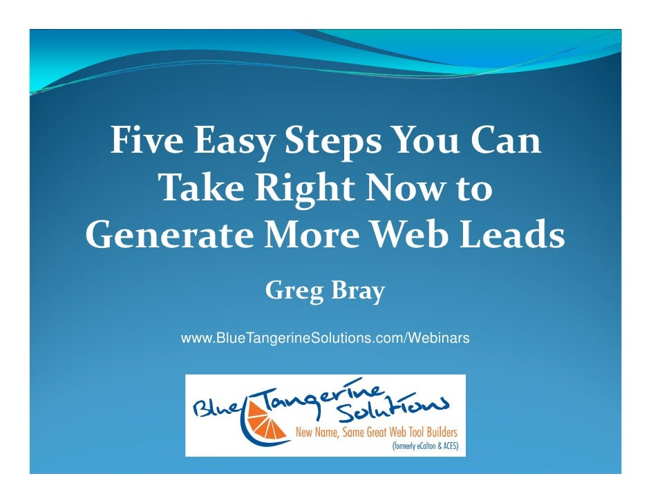 5 Easy Steps To Drive Web Leads - Webinar by Blue Tangerine Solutions