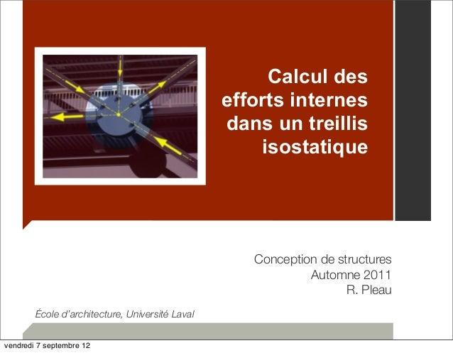 Calcul des  efforts internes  dans un treillis  isostatique  Conception de structures  Automne 2011  R. Pleau  École d'arc...