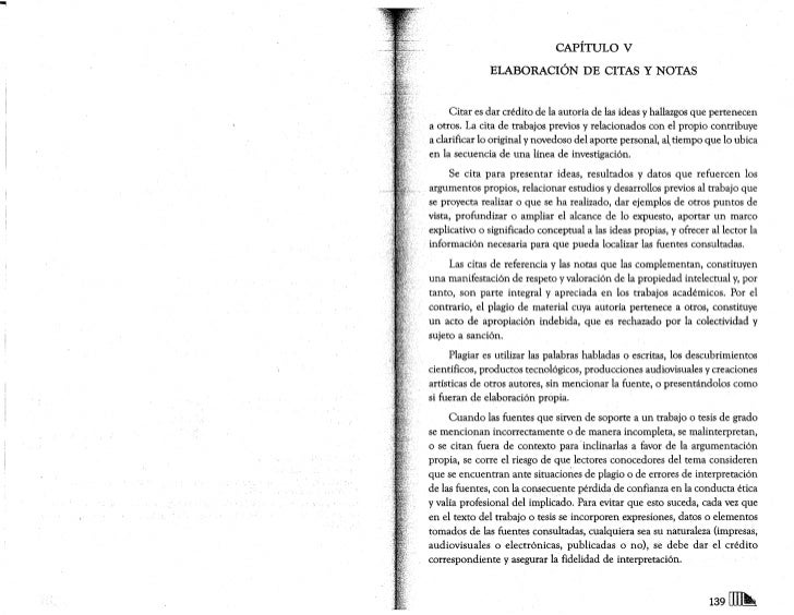 CAPÍTULO V               ELABORACIÓN DE CITAS Y NOTAS        Citar es dar crédito de la autoría de las ideas y hallazgos q...