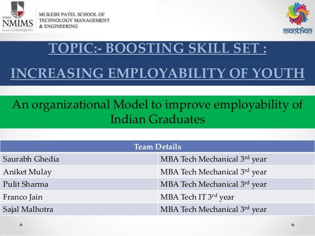 TOPIC:- BOOSTING SKILL SET : INCREASING EMPLOYABILITY OF YOUTH Team Details Saurabh Ghedia MBA Tech Mechanical 3rd year An...
